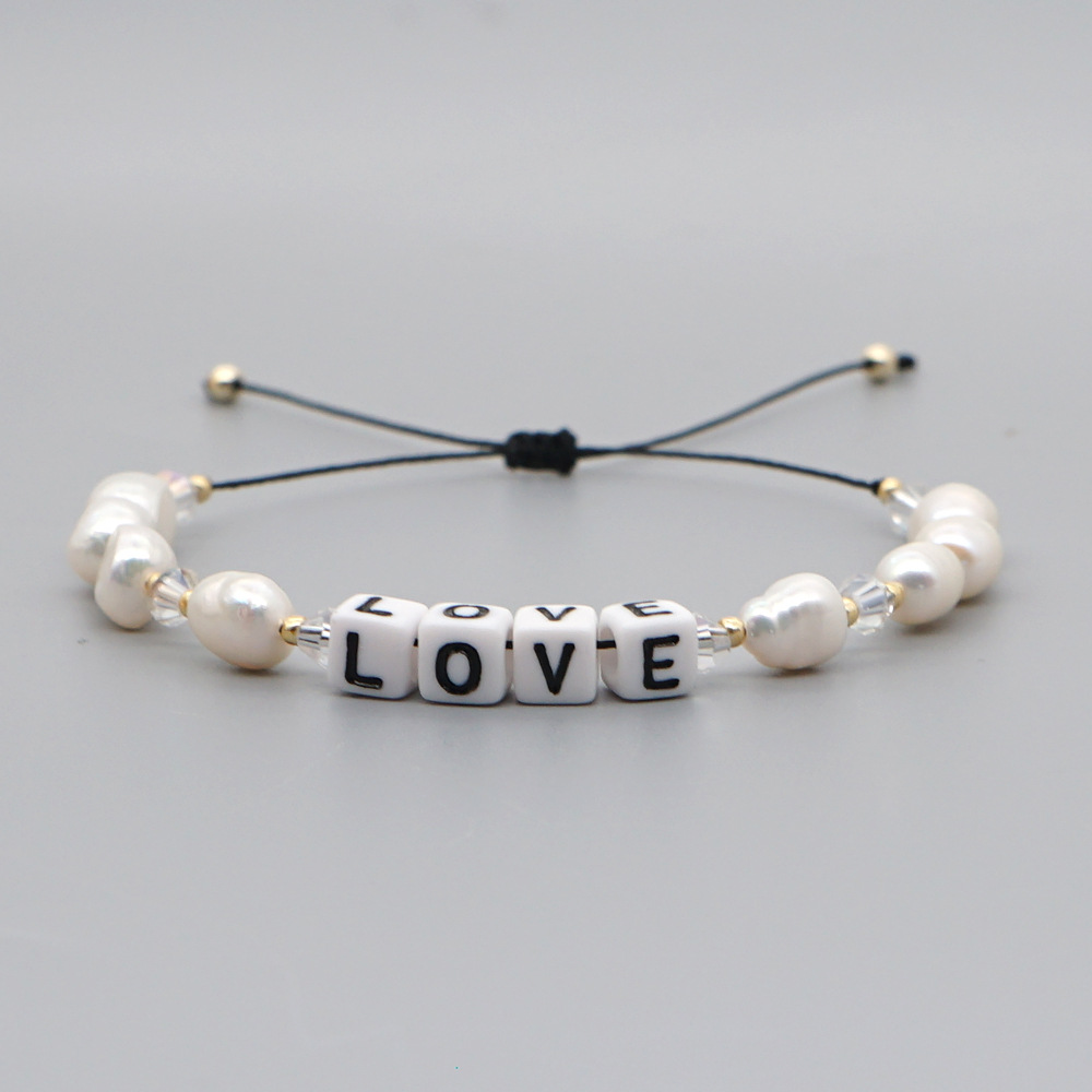 Korean fashion special-shaped baroque natural freshwater pearl letter bracelet wholesale nihaojewelry NHGW236394