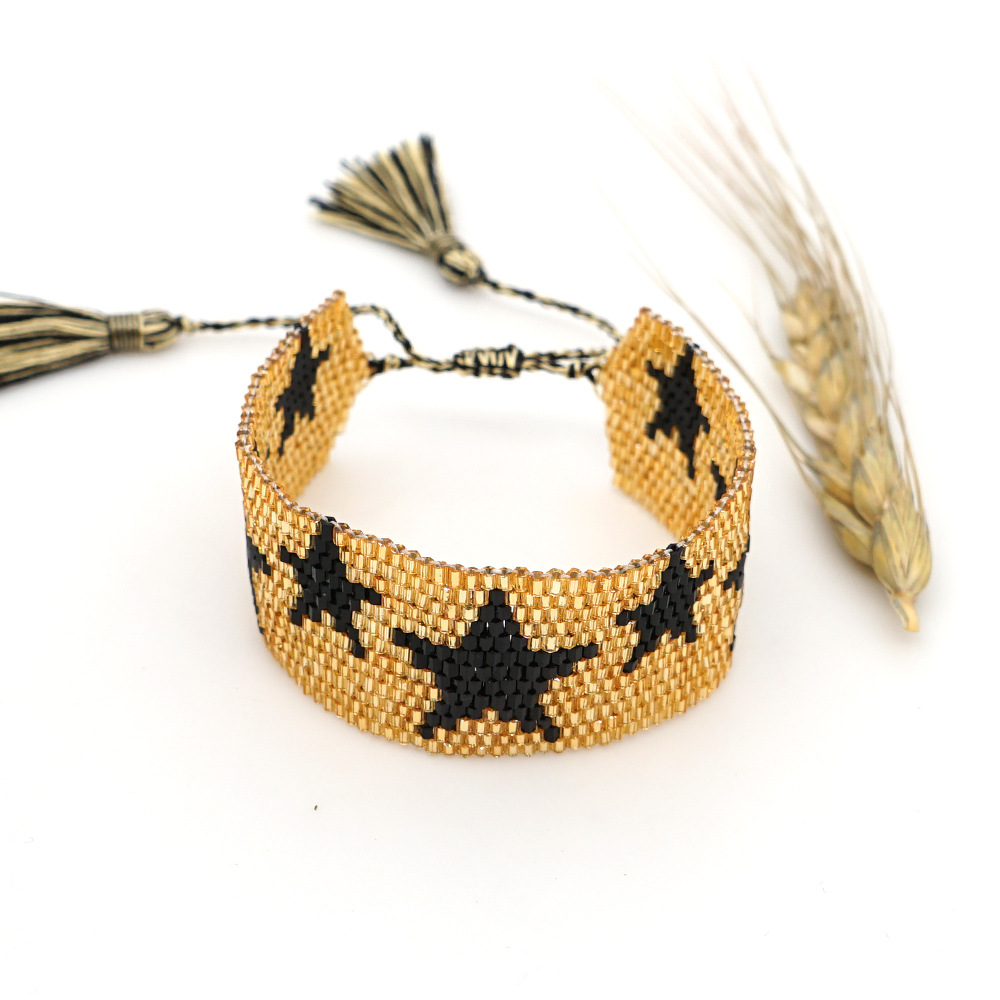 New fashion bohemian ethnic style rice beads handwoven fivepointed star pattern bracelet NHGW213168