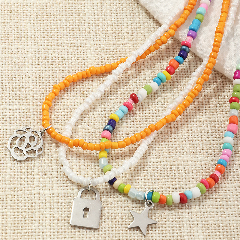 jewelry Bohemian style color rice bead necklace personalized flower star necklace wholesale nihaojewelry NHNZ238224