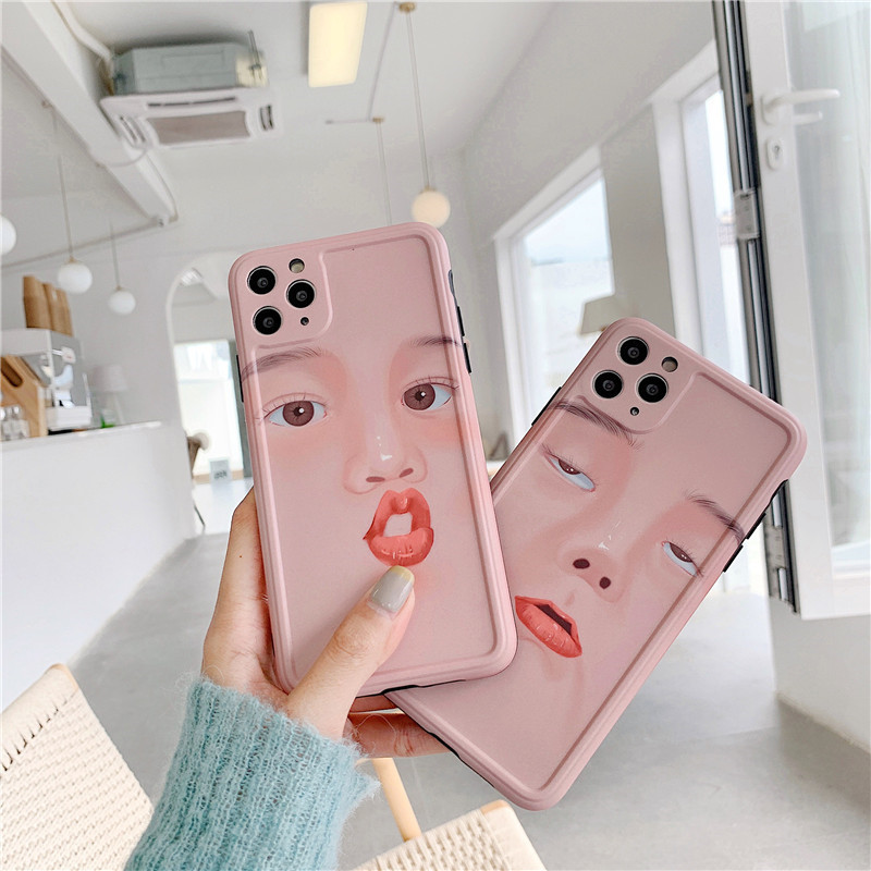 Funny selfie emoji Apple 11Pro mobile phone case for p40pro soft 8plus XR anti-fall protective phone case SE2 NHFI228352