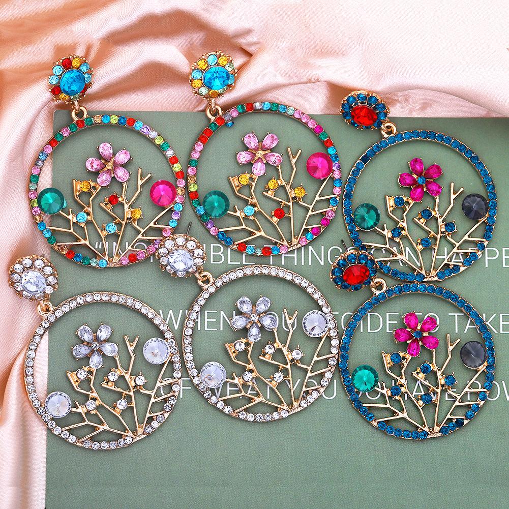 Fashion color diamond alloy inlaid rhinestone hollow geometric retro earrings NHJQ260592