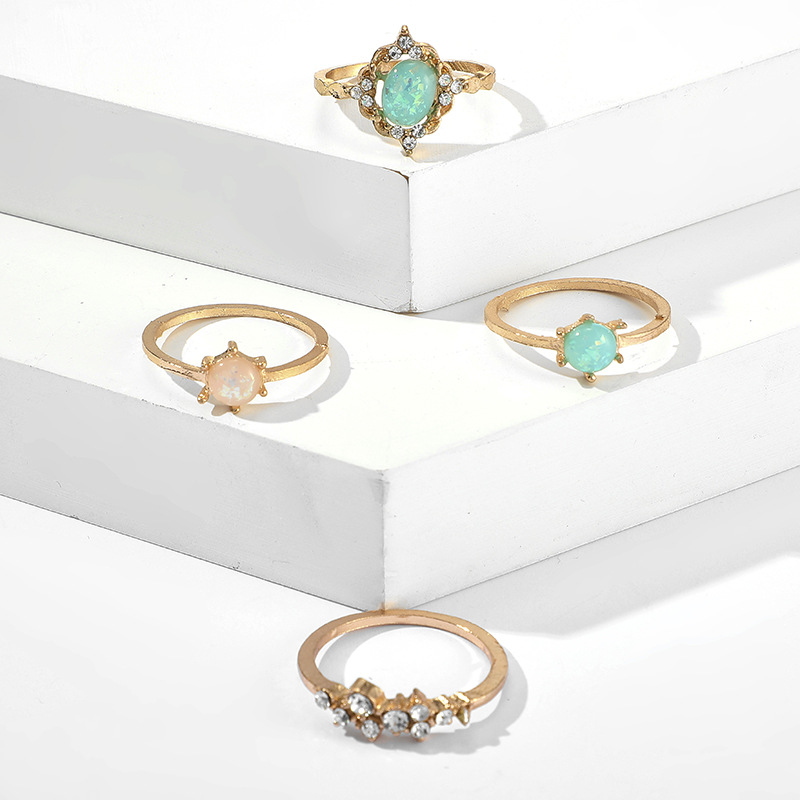 New Colorful Diamond Ring Set of 4 Colorful Candy Ring Sets NHGY201019