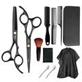 跨境黑色11件套家用不锈钢理发美发剪刀套装平剪牙剪剪头发剪刀