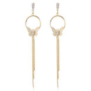 Butterfly long tassel earrings 925 silver needle stud earrings ear clip circle long tassel earrings ins vibrato