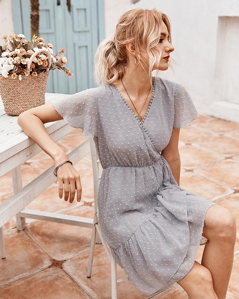 women's summer ruffled solid color fairy dress  NSKA971