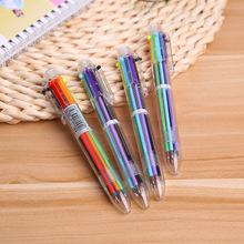 展会商务卡通多色圆珠笔按动笔彩色个性油笔6色笔学生办公用品