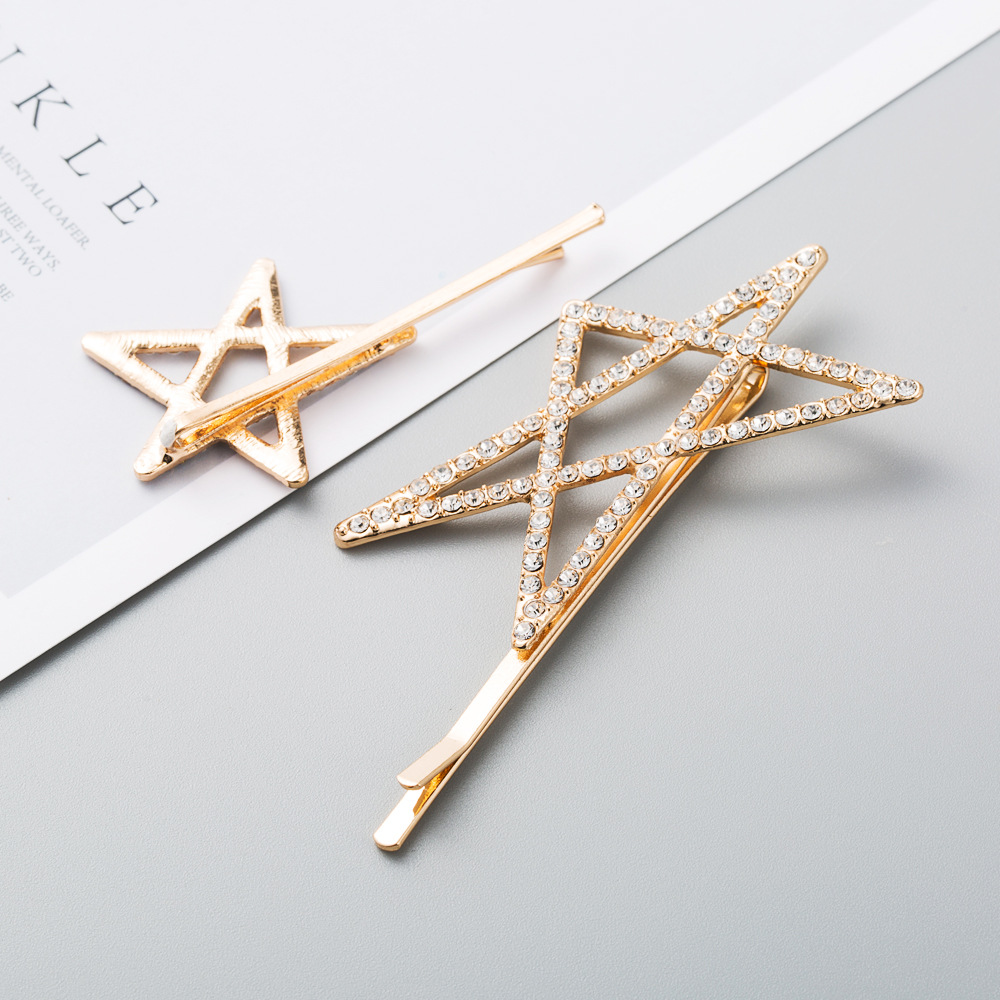 New exaggerated fashion alloy diamond size pentagram cheap hairpin set 2 sets wholesale NHLN208869