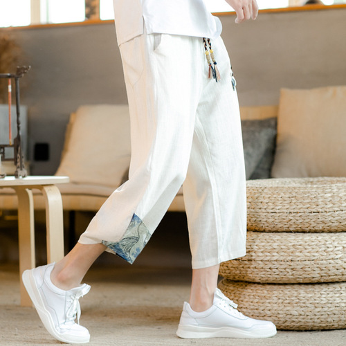 Men's Chinese kung fu Pants  linen casual sports kimono pants Chinese style loose large size cotton linen cropped pants wide-leg pants for male