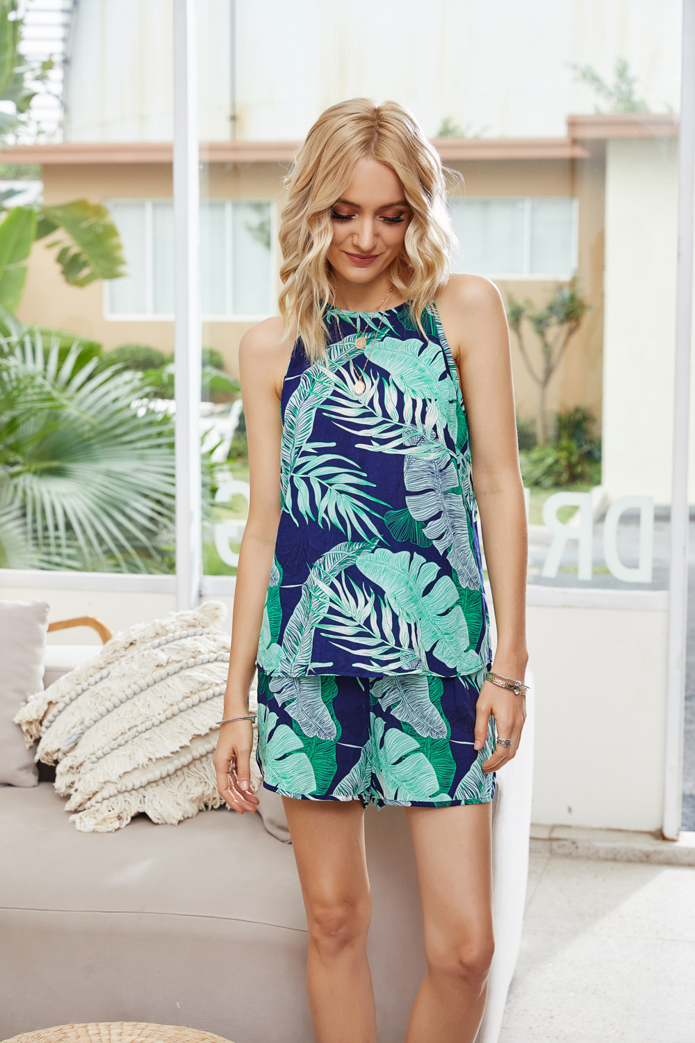 summer new hot sale tropical wind printing loose casual sleeveless lace-up vest shorts women suit NSDF1519