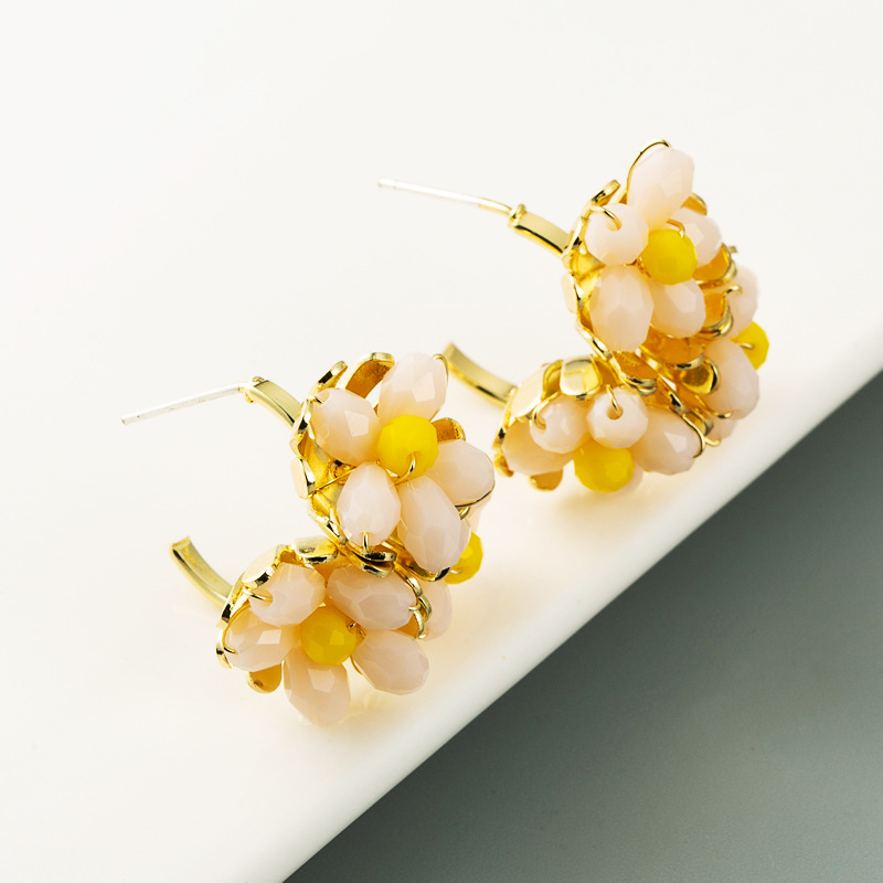 fashion new  flower C-shaped Korean cute simple earrings  wholesale  NHLN240224