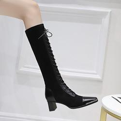 829-5 European and American retro fashion thick heel high heel metal square head suede stitching cross lace up high boots