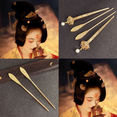 2pcs Antique retro ancient traditional empress princess hairpin hanfu Costume hair accessories Ming System photos shooting Hanfu hair clip Palace Jewelry