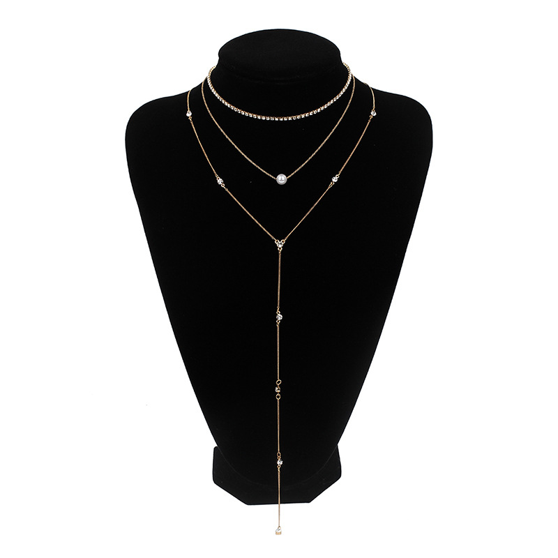 Women's Fashion Rhinestone Claw Chain Pearl Pendant Long Necklace Multilayer Forest Clavicle Chain Sweater Chain wholesale nihaojewelry NHRN238382