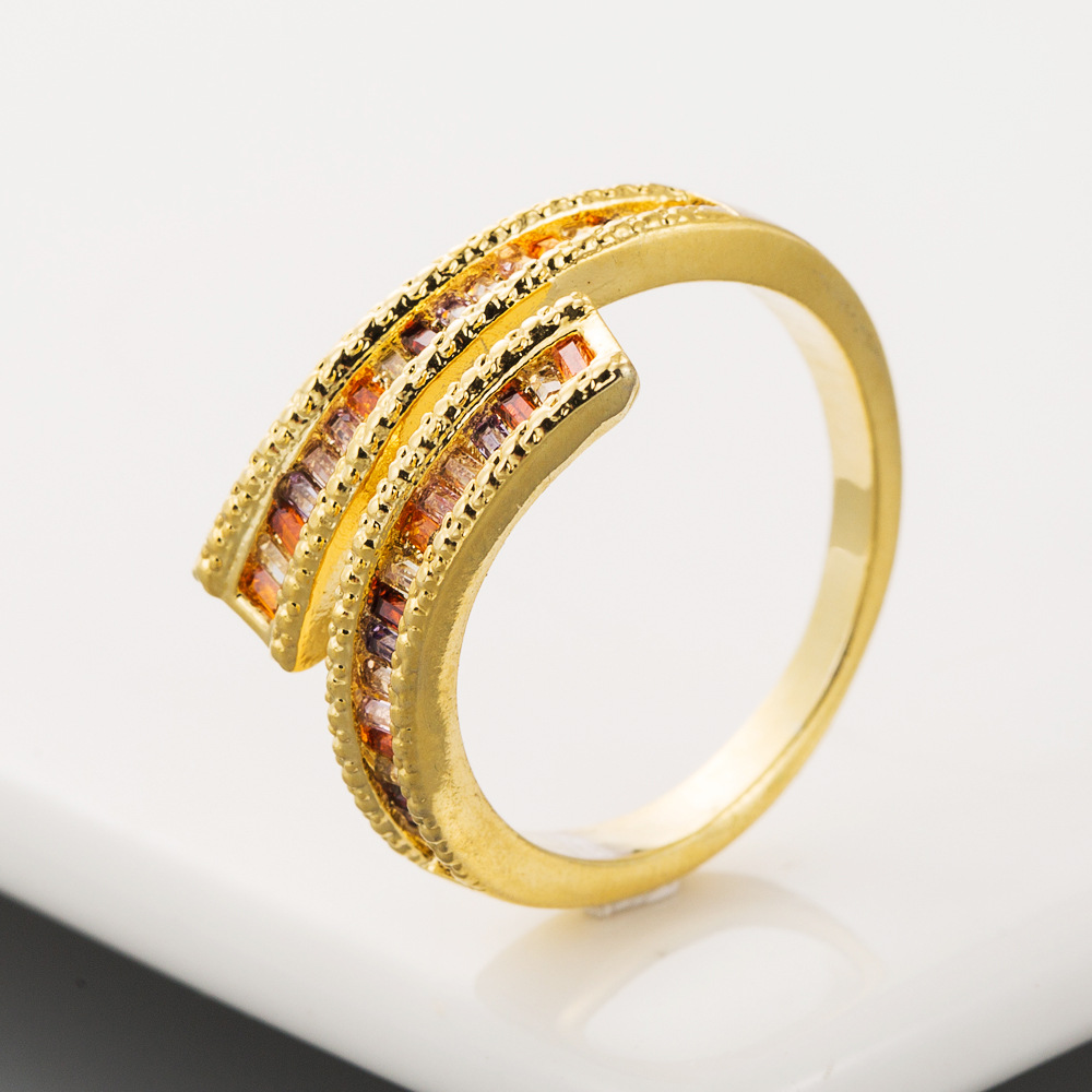 Fashionable Classic Copper Inlaid Zircon Ring Bracelet Colorful Opening Adjustable Ring NHLN201150