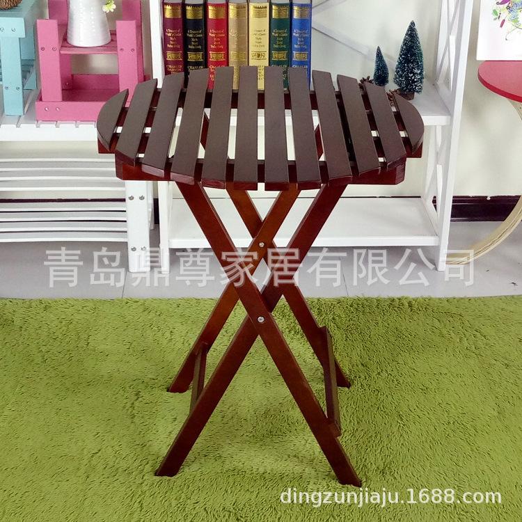 厂家订做 松木全木折叠圆餐桌 便携式户外野炊餐桌小户型