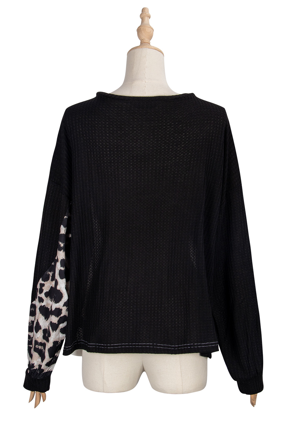 New autumn fashion solid color stitching leopard print long-sleeved knit sweater NHDF246812