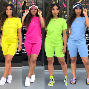 2020 European and American Amazon cross-border hot style eight-color round neck solid color middle-sleeve sports suit two-piece 9550#