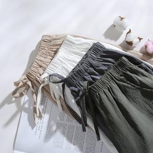 ខោខ្លីនារី Women High Waist Cotton Linen Casual Straight Wide Leg Shorts PZ479254