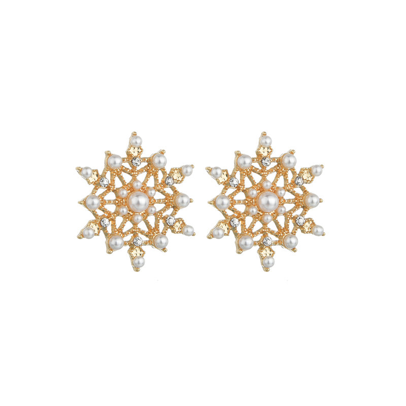 925 silver needle flash diamond snowflake pearl earrings Korean exquisite elegant charming earrings wholesale nihaojewelry NHBQ230118