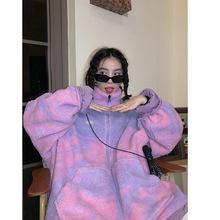 两面穿羊羔绒外套女2020秋冬新款宽松韩版加厚毛绒棉服潮代理代发