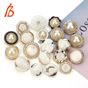 Two-piece pearl plastic buttons women's knitted sweater coat windbreaker jacket high-foot decorative hand-sewn buttons wholesale spot