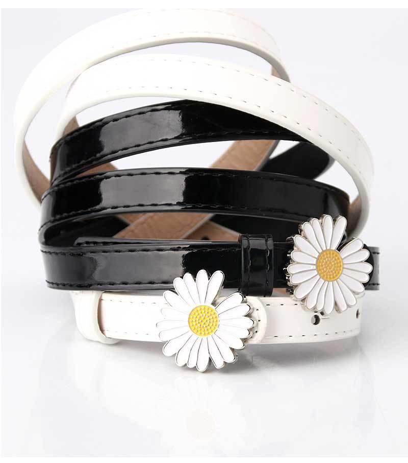 fashion ladies small daisy patent leather Korean casual sweater dress decoration thin all-match belt NHJN267045