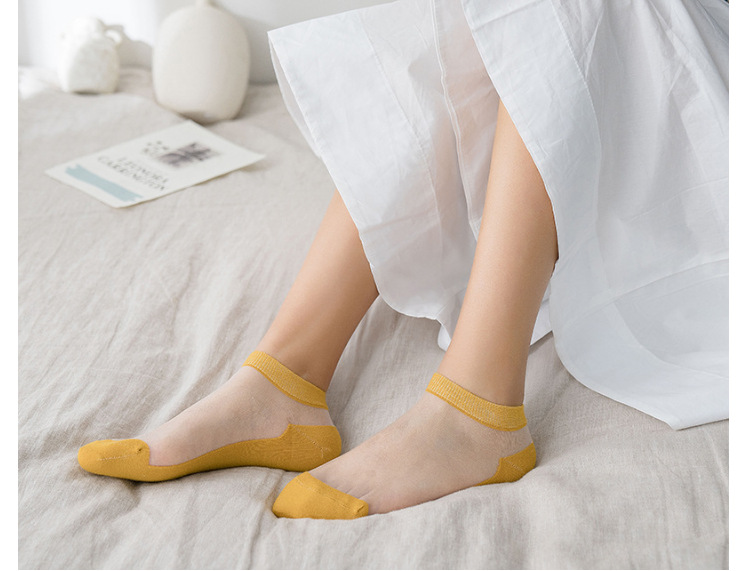 New female stockings wholesale solid color glass silk female socks fashion trend breathable ladies boat socks NHER206459