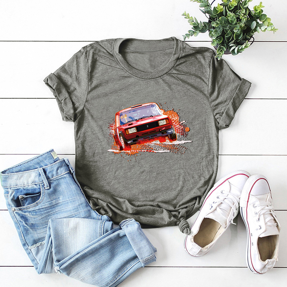 car printing pure cotton short-sleeved t-shirt women NSSN2688