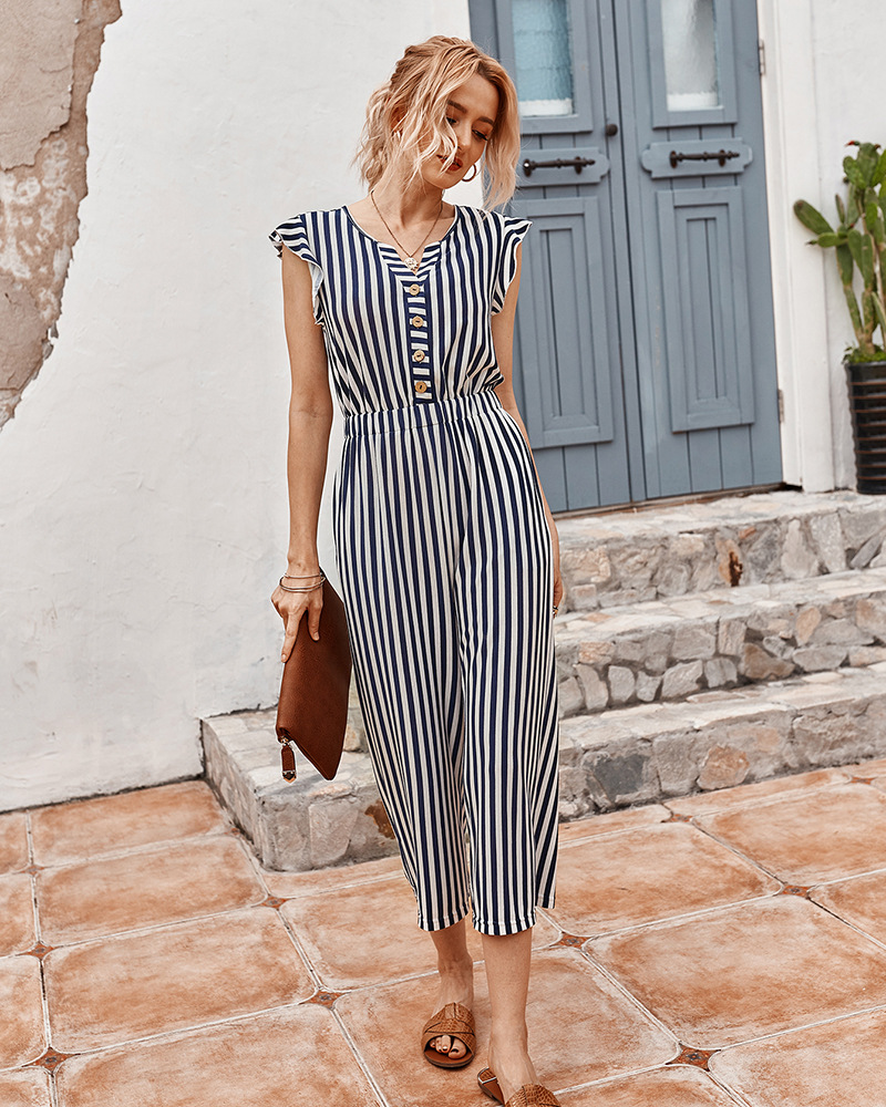 fashion women's 2020 summer striped jumpsuit casual pants NSKA974