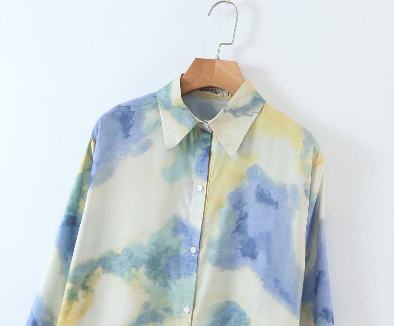 painting printing loose wild long-sleeved shirt  NSAM3104