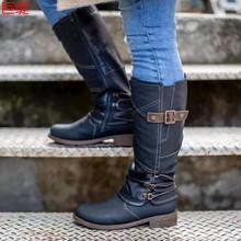 新款外贸长靴2020冬季wish亚马逊独立站欧美外贸平底大码女士皮靴