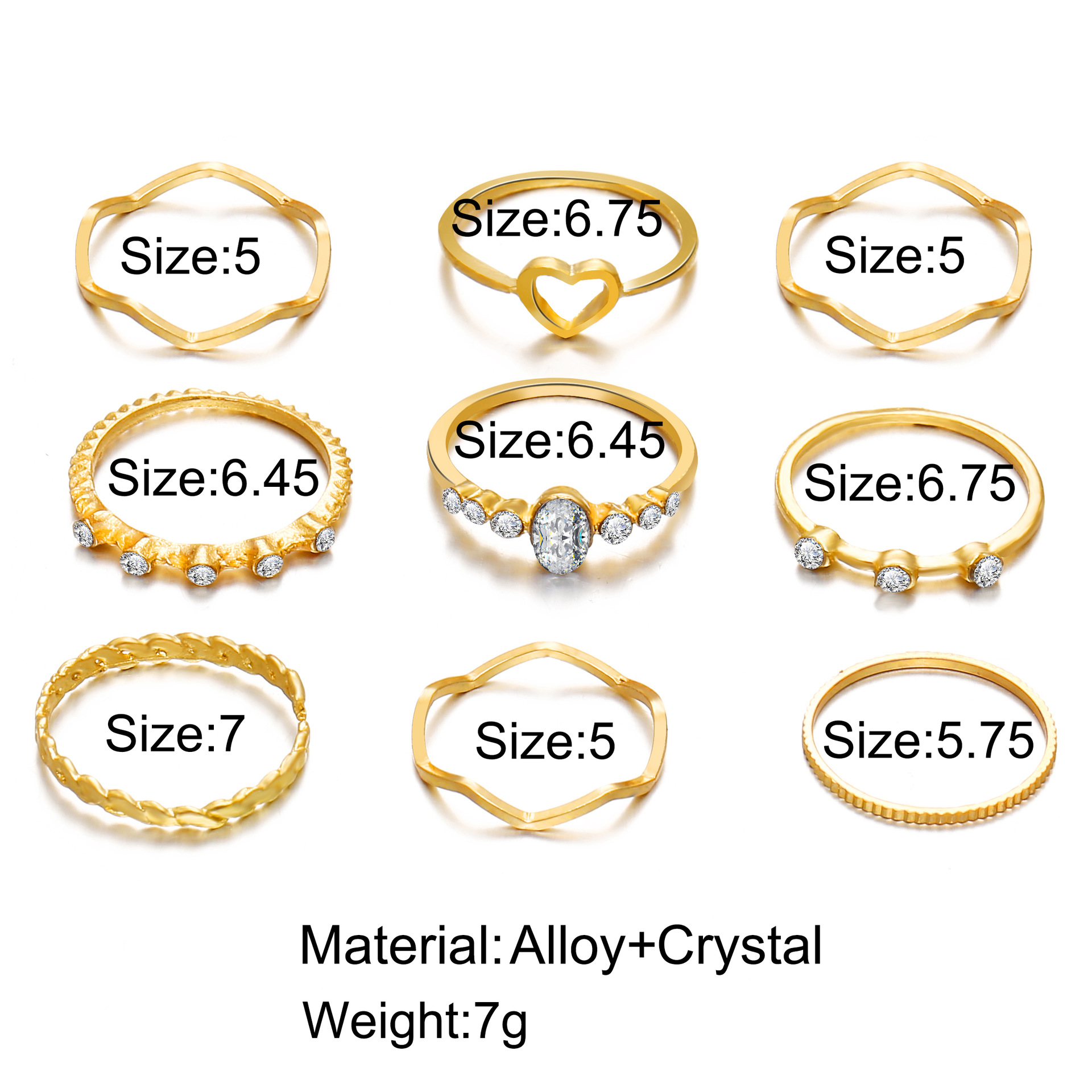 new hollow love ring creative simple joint ring set 9 piece set wholesale niihaojewelry NHPJ223469
