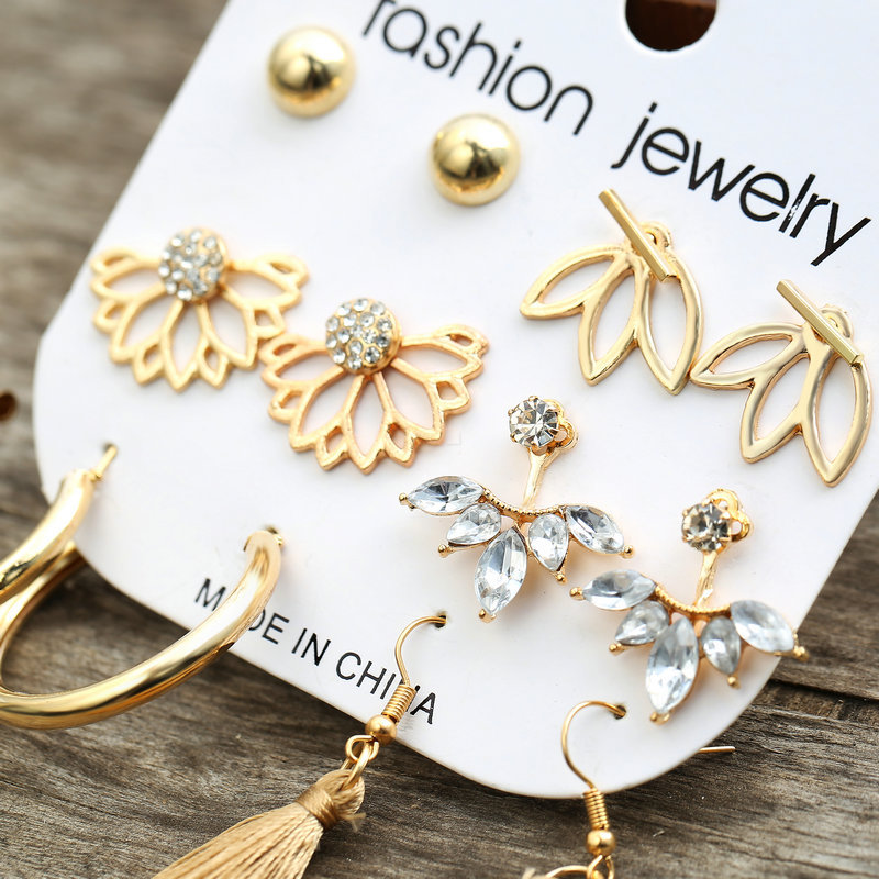 hot sale style inlaid rhinestone tassel earring set 6 pairs of creative retro earrings wholesale nihaojewelry NHPJ238853