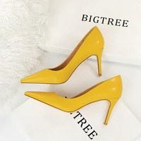 1829-A6 euramerican fashion contracted professional OL shoes high heel with shallow mouth pointed sexy thin women's shoes