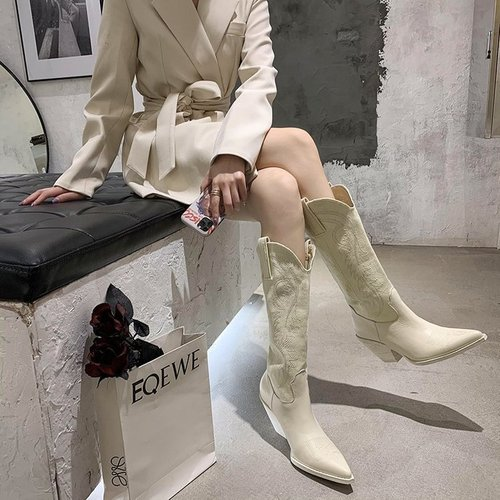 Knight boots for women Embroidered Western Aberdeen Boots Female Pointed Heel Boots High Rider Boots High Heel Knee-length Sleeve Boots