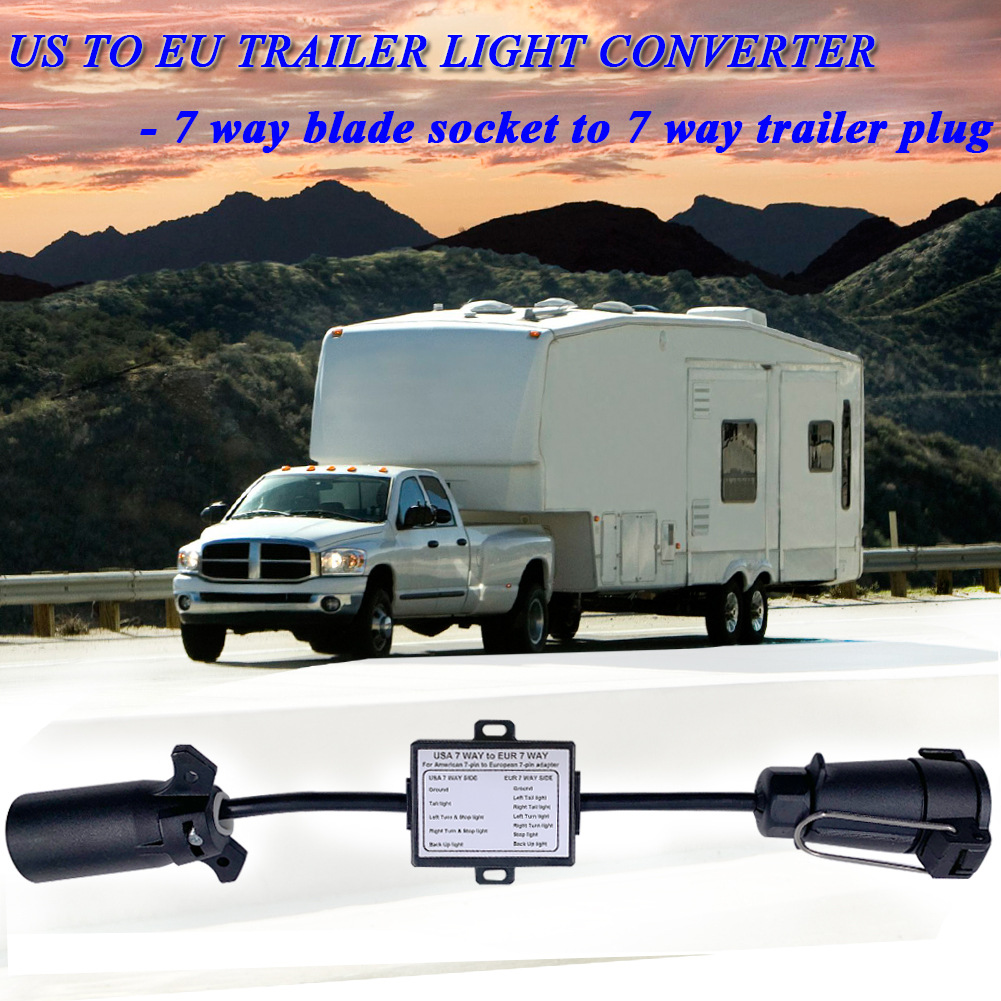 EU trailers US vehicle to 7 pin plug USA to EU Trailer Light Converter 7-pin socket