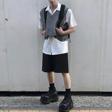衬衫+马甲【两件套】 韩货时装2020潮流短袖衬衫套装都市帅气背心