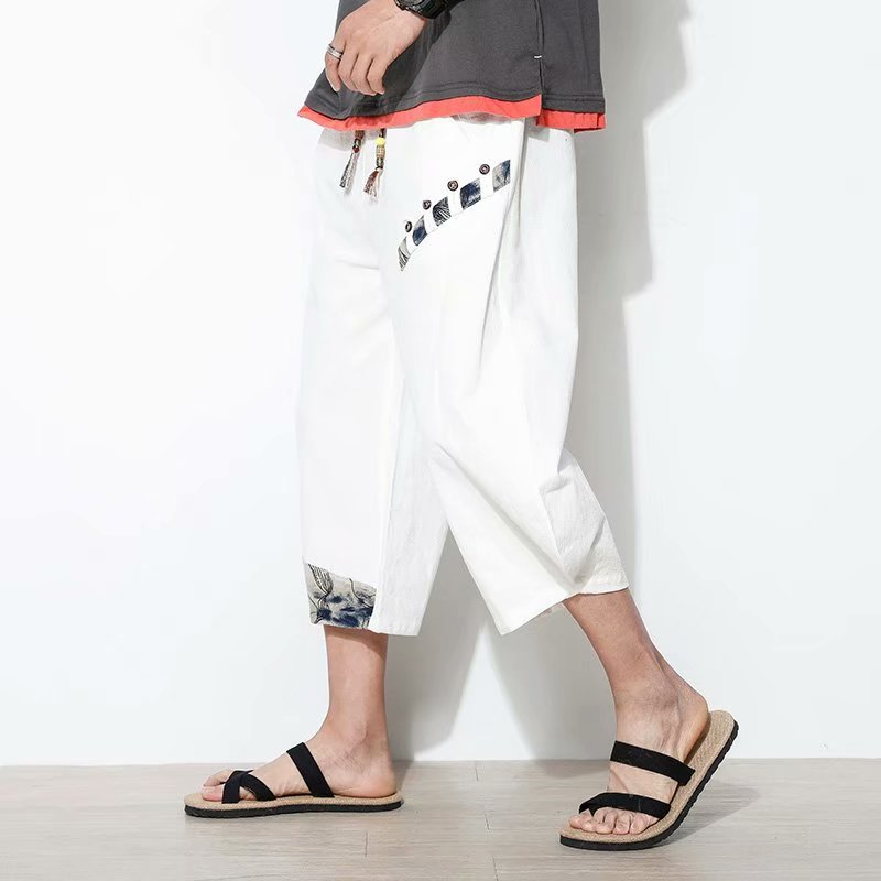 Summer Thin Cropped Linen Pants Sports Casual Men's Pants