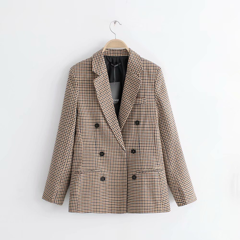 Cross-border aliexpress amazon hot style 2020 spring and autumn vintage style long-sleeve plaided double-breasted suit jacket woman