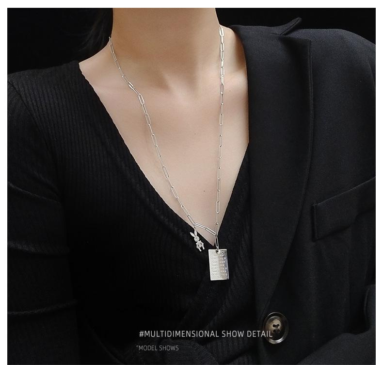 rabbit shape love letter rectangular  long titanium steel  necklace NHOK250960