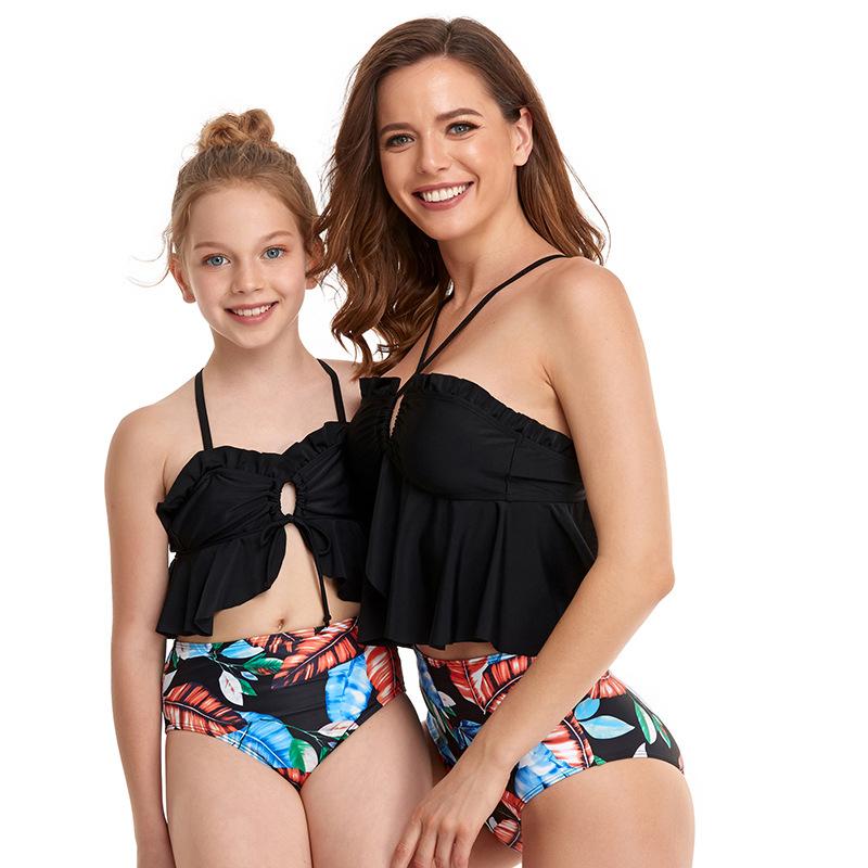 跨境专供2021新款亲子泳衣嗨鱼独家设计专利泳装