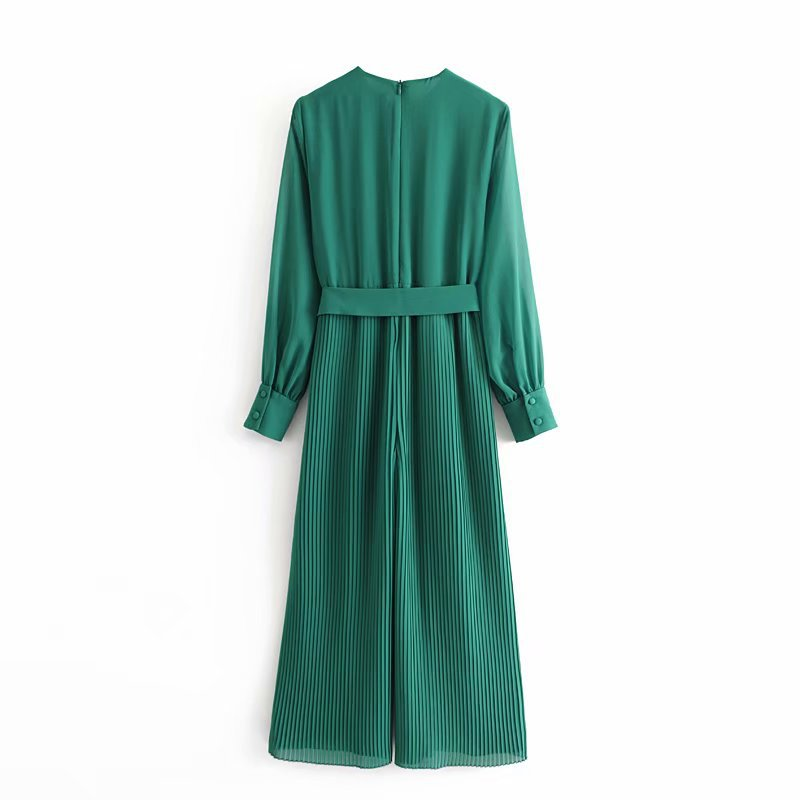 Wholesale Spring Pleated Long Sleeve Belt Green Jumpsuit NHAM198448