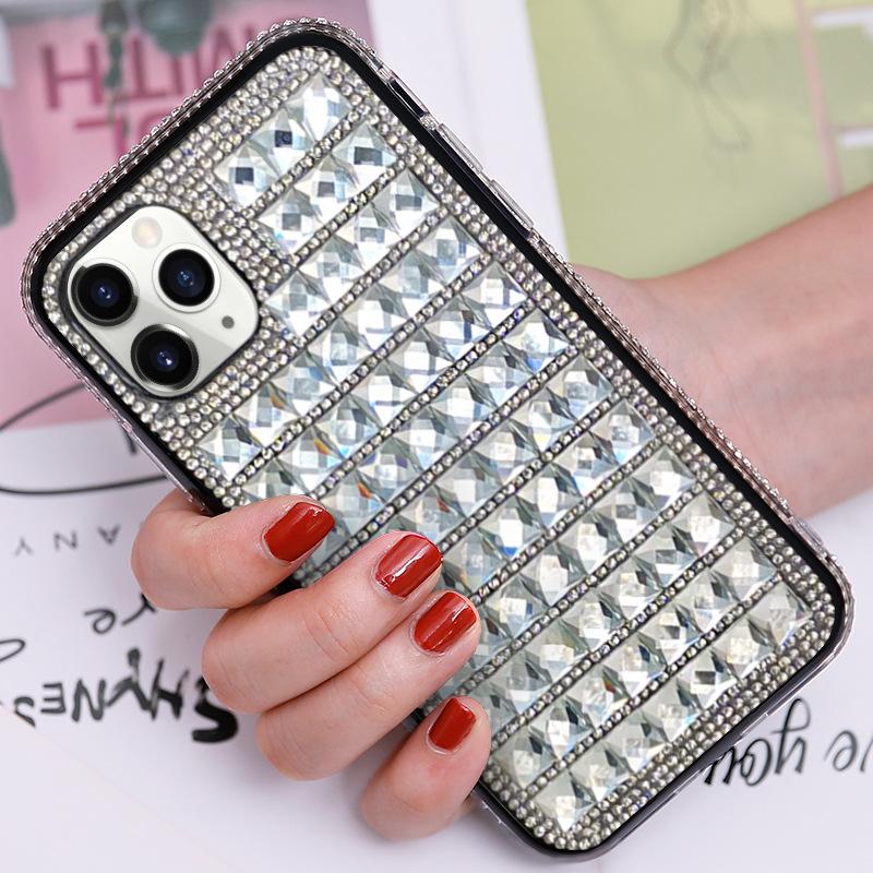 适用iphone 12镶钻手机壳2020创意苹果X奢华水钻8P玻璃水晶保护套
