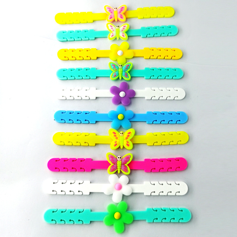 soft rubber butterfly flower  hook anti adjustable extension cord hanging buckle wholesale NHDI248224