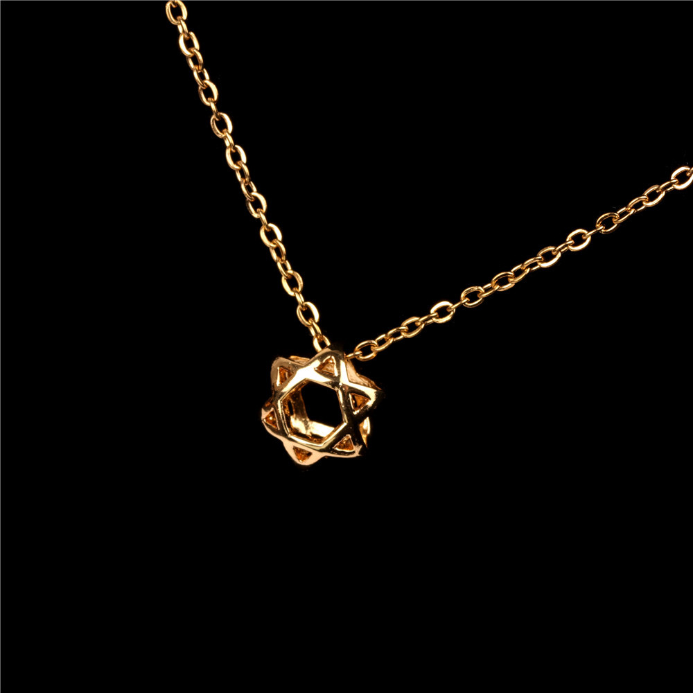 New accessories sweet hollow six-pointed star cute star clavicle necklace copper necklace NHPY196588
