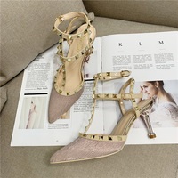 The new spring and summer fashion in Europe and America, 209-1 2020 single high heel shoes sexy pointed rivet with Roman sandals