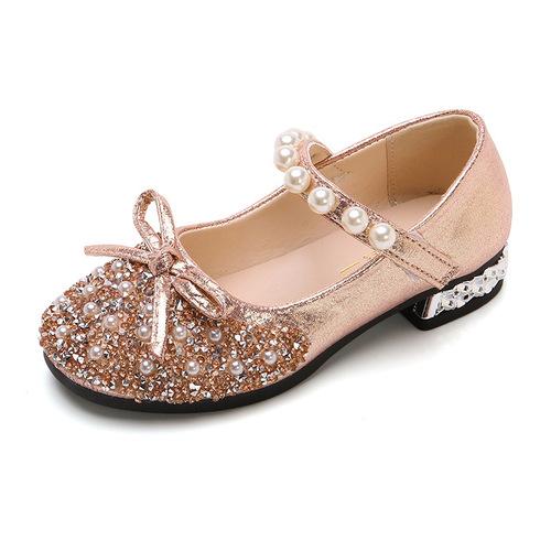 Girl princess shoes little girl crystal leather shoes children single shoes high heels big children soft soled children shoes