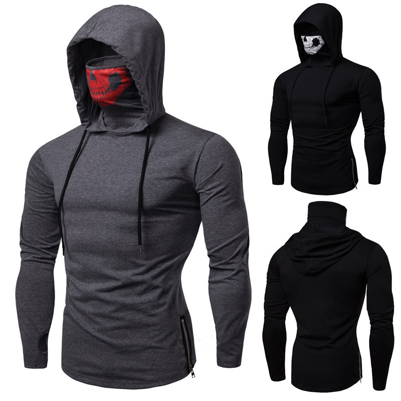 Amazon foreign trade explosion models elastic fitness men's ninja suit Slim skull mask printing hooded long-sleeved T-shirt
