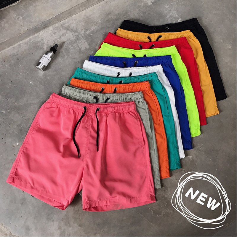 Summer men's casual shorts candy color k...