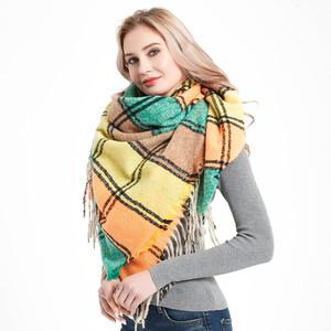 Tassel scarf season polyester shawl with prickly hair tartan